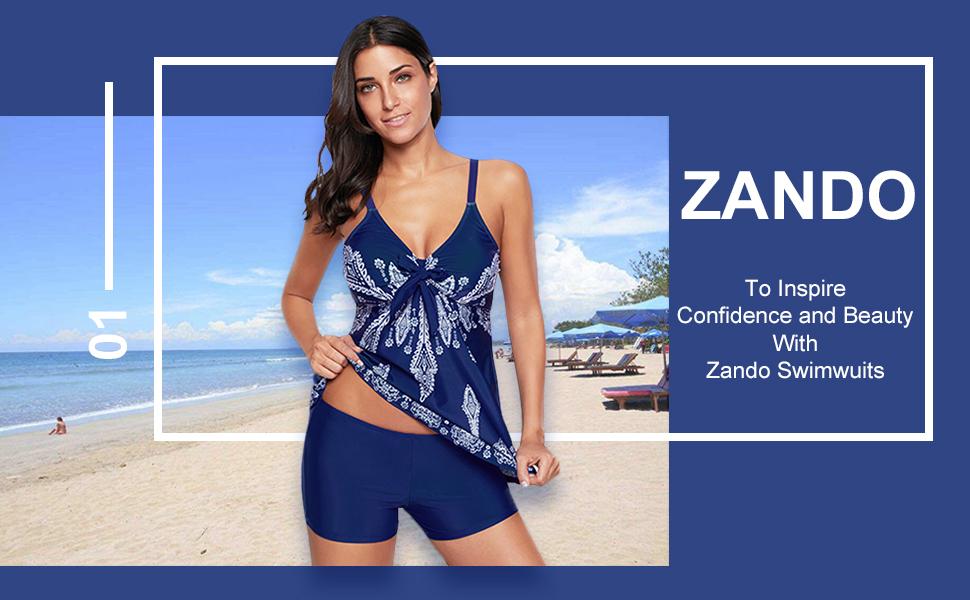 Zando Women Floral Tankini Tummy Control Swimwear Tank Top Retro Printed Swimsuit with Boyshorts Two Piece Bathing Suit