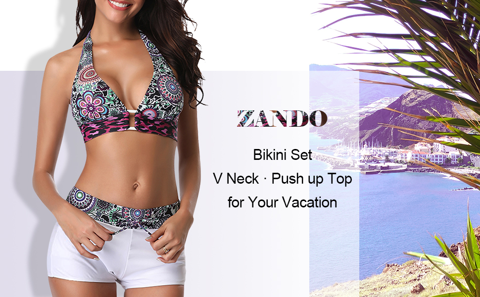 a278b1c6a4 Zando Womens Two Piece Swimsuits Halter Bikini Bathing Suits for Women