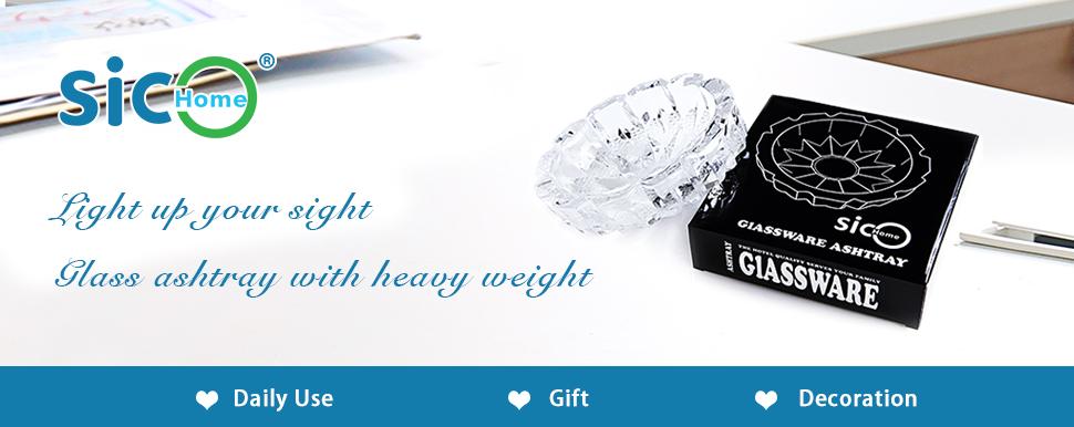 Amazon.com: Ashtray,SiCoHome Round Glass Ashtray for Iutdoor and ...