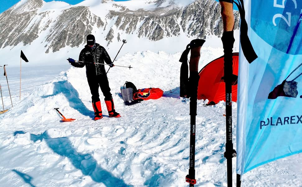 Mons Peak IX Tiger Paw 7075 Aluminum Trekking Hiking Poles in Antarctica South Pole Expedition 2019