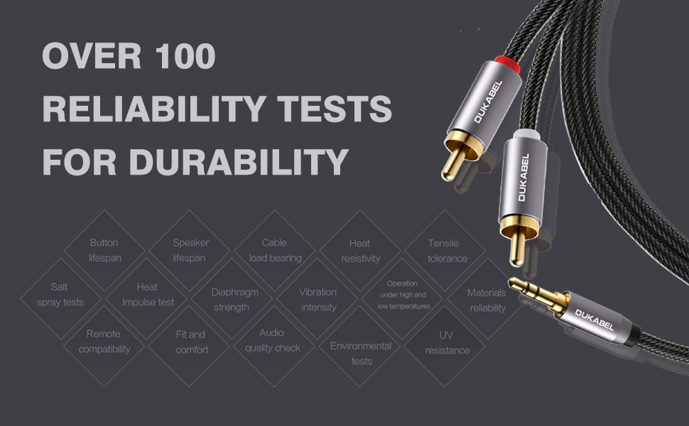 8 Feet // 2.4 Meters RCA to 3.5mm 2-Male RCA to AUX Audio Cable Crystal-Nylon Braided// 24K Gold Plated// 99.99/% 4N OFC Conductor DuKabel Top Series RCA Cables