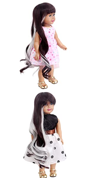 Stfantasy Doll Wigs for American Girls Barbie Baby BJD SD AG Doll Long Super Wave Heat Resistant Synthetic Hair Neat Bang Wig Peluca