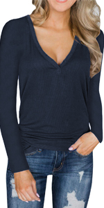 b88654e4c0096a Long Sleeve Knit Tops · Deep V Neck Henley Shirts · Button Tops for Women ·  Button Down Tank Tops