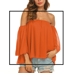 aa7402d638f021 Uvog Women's Summer Off Shoulder Tops Ruffle Short Sleeve Chiffon ...