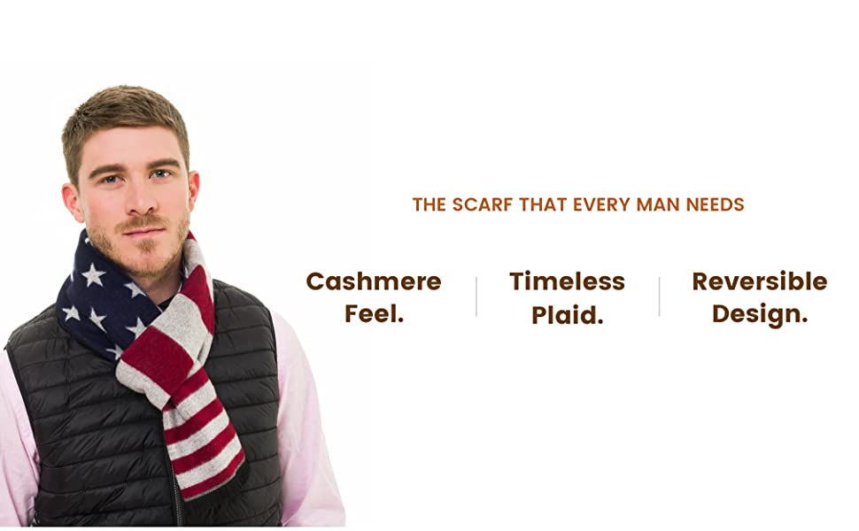 Scarf for Men: Reversible Elegant Classic Warm Cashmere Soft Scarves for Fall Winter
