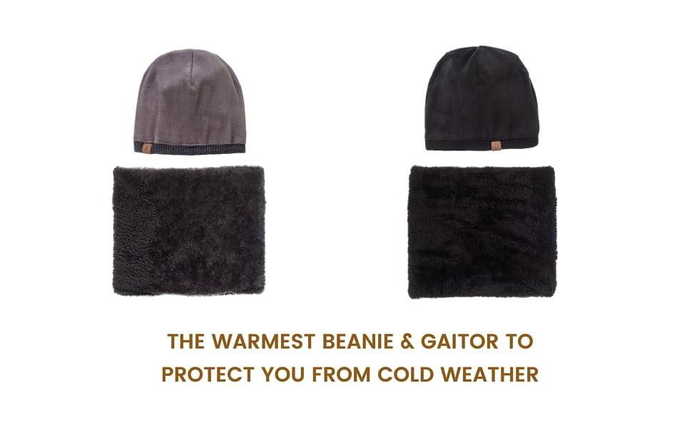 d2f53e75 Beanie Neck Warmer Set with Wool Fleece Fur Scarf Gaitor Skull Cap ...