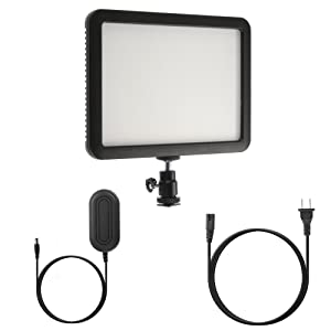 Fotga Slim 124 Dimmable CRI95 LED Video Light for Canon Nikon Pentax DSLR Camera Cameracorder,Adjustable Color Temperature 3300K to 5600K,Support NP-F Battery and AC Power Supply,LCD Display