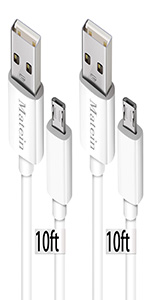 white micro usb cable 10ft 2 pack