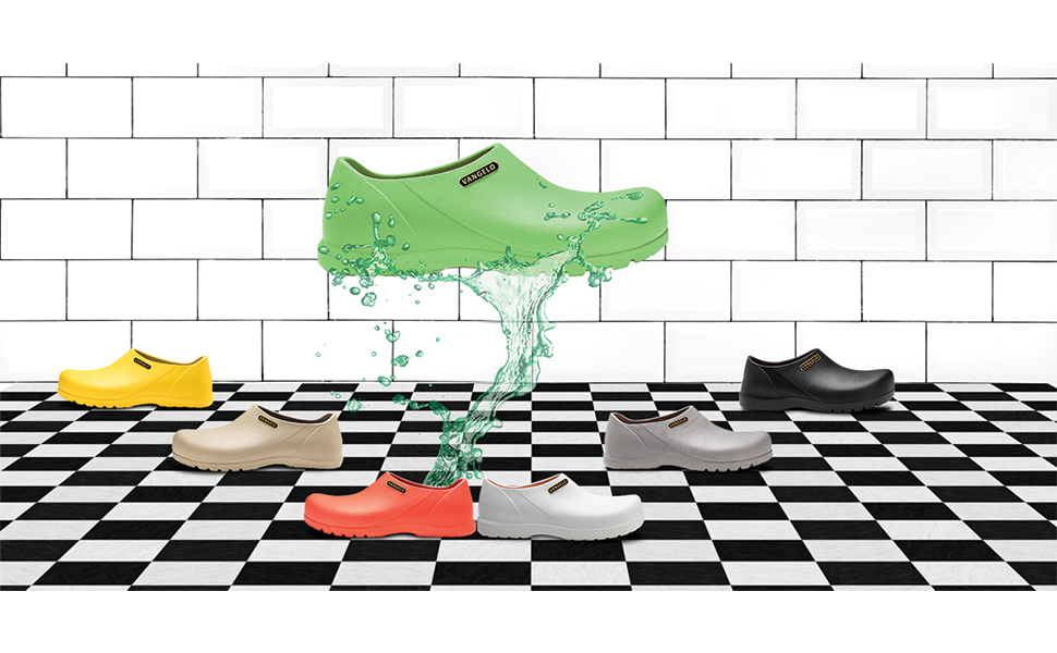 vangelo Professional Slip Resistant Clog Unisex Work Shoe Chef Shoe Nurse Shoe Carlisle Lime