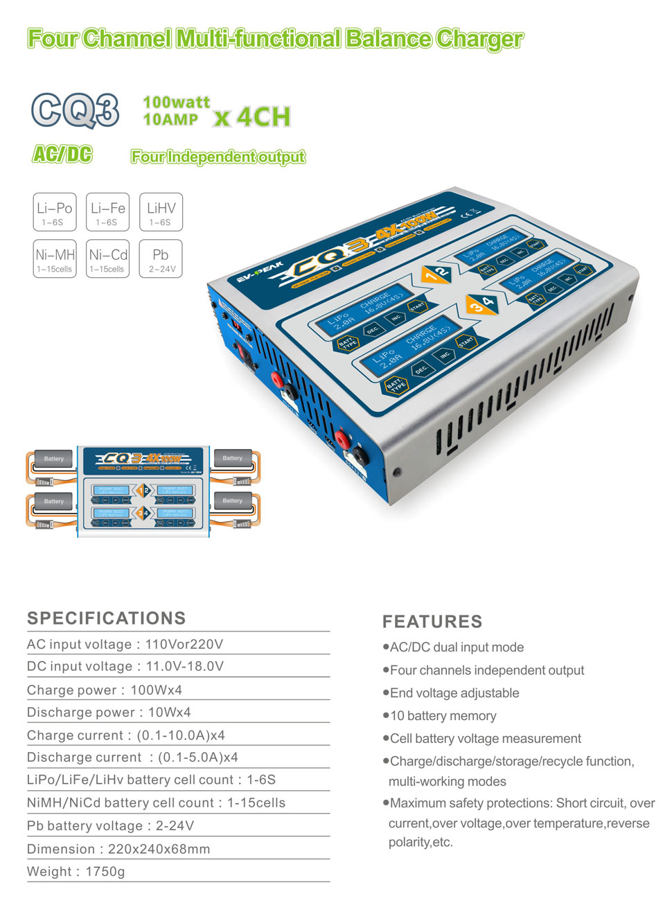 Ev Peak Cq3 Lipo Battery Balance Charger100wx4 10a Four Balancer Seven Segments 100wx4 Channel Lihv Life Nicd Nimh Charger Discharger