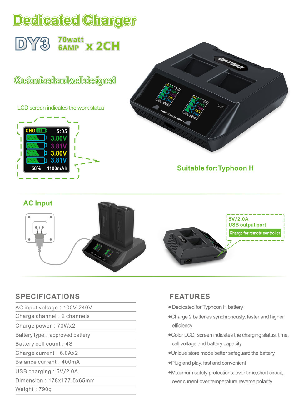 type two weeks notice%0A EVPEAK   Wx   A CH Intelligent Battery Charger for Yuneec Typhoon H Drones  Battery and Remote Controller with  V  A USB