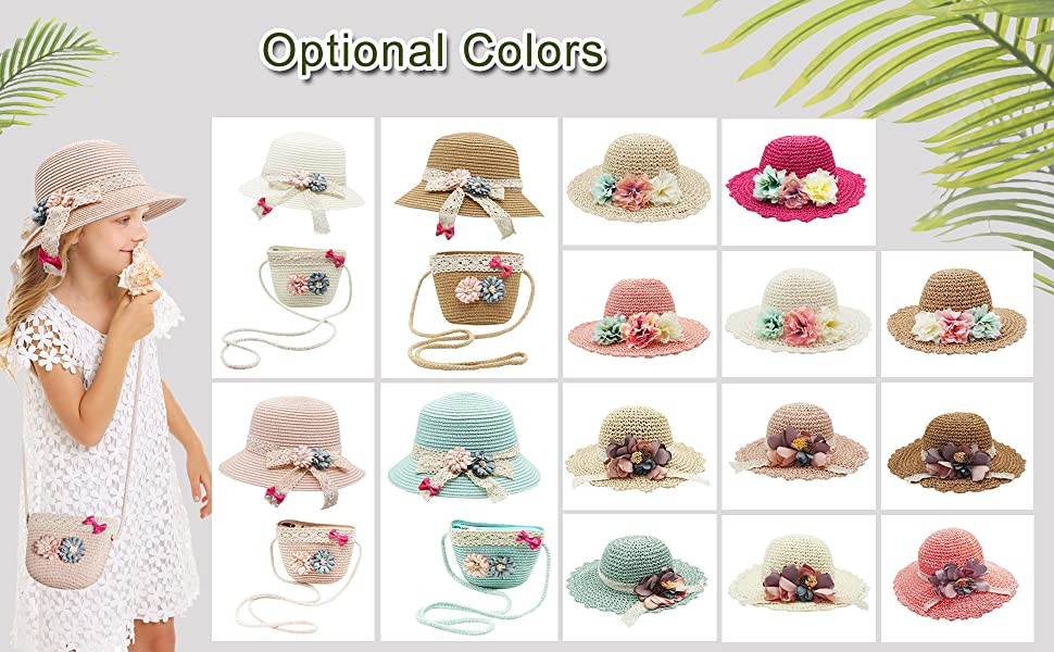 IMLECK Baby Girls Lovely Floral Lace Floppy Wide Brim Sun Hats