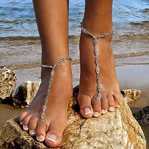 612e2d7669ef Amazon.com  Bienvenu 2 PCS Beach Anklet Chain Bracelet Barefoot ...