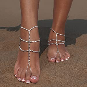 07dd5b5b557d Amazon.com  Bienvenu 2pcs Crystal Anklets for Beach Barefoot Sandals ...