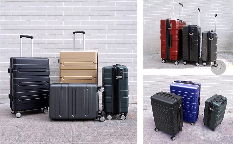 aa0d9663c8a2 Fochier 3 Piece Luggage Sets Expandable Hard Shell Suitcase 4 Spinner  Wheels with TSA Lock Blue