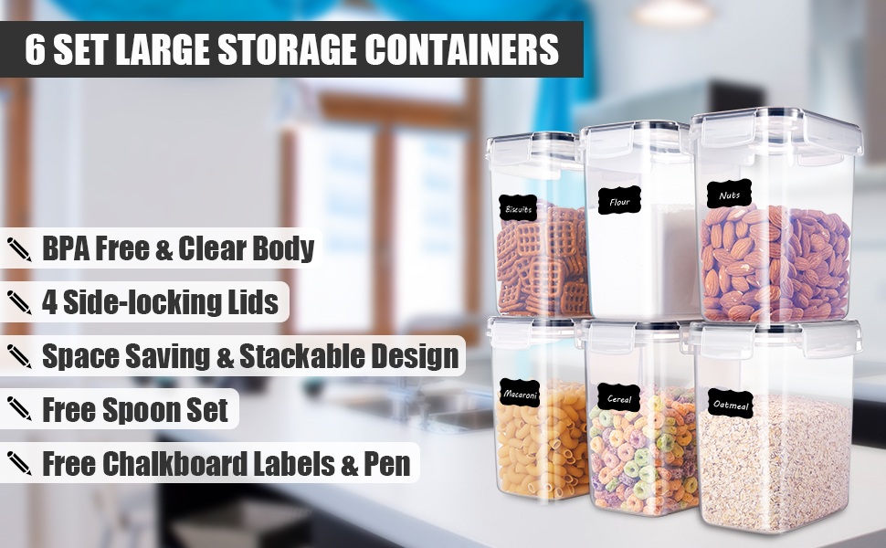 ME.FAN Medium Food Storage Containers [Set of 6] Airtight Storage Keeper  1.6L(54.1oz) with 5 Set Measuring Cups 24 Chalkboard labels & Pen Ideal for  ...