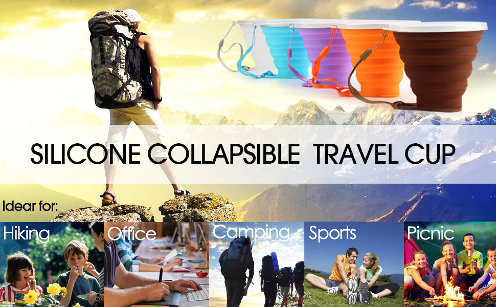 Silicone Collapsible Travel Cup - Silicone Folding Camping Cup with Lids