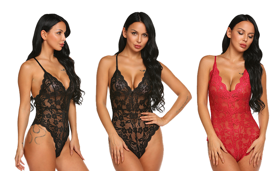 264776ae276 RSLOVE Women Teddy Lingerie One Piece Babydoll Mini Bodysuit lace Chemises  sleepwear