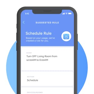 Currant App showing schedule rule with smart suggestion to turn off living room.