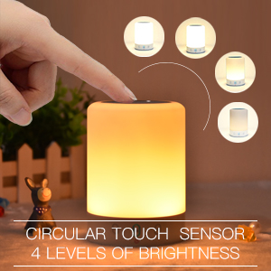 Night Light Bluetooth Speaker, Portable Wireless Bluetooth Speaker, 6 Color  LED Themes Bedside Table Light/Smart Touch Control Color Changing Stereo