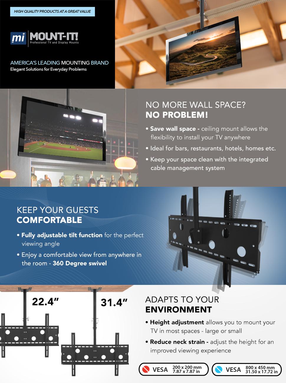 Amazon.com: Mount-It Ceiling TV Mount For 32 37 40 42 43 50 55 60 65 ...