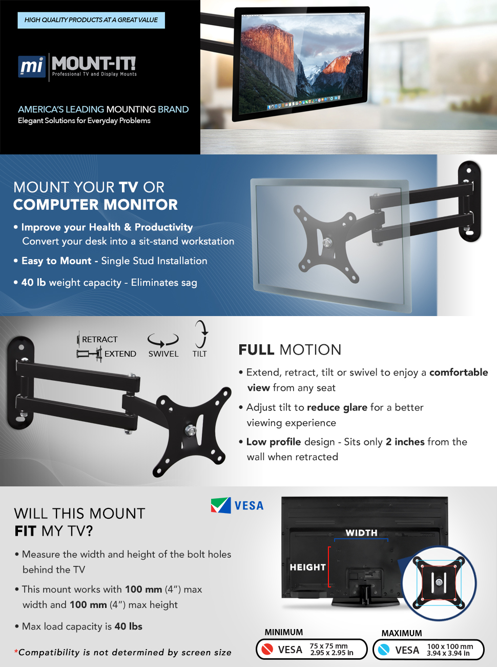 Single stud tv wall mount - Mount It Computer Monitor And Tv Wall Mount Full Motion Bracket For Small To Medium Size Televisions