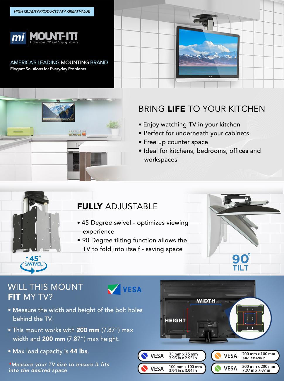 Amazon.com: Mount-It! MI-4222 TV Ceiling Mount Kitchen Under Cabinet ...