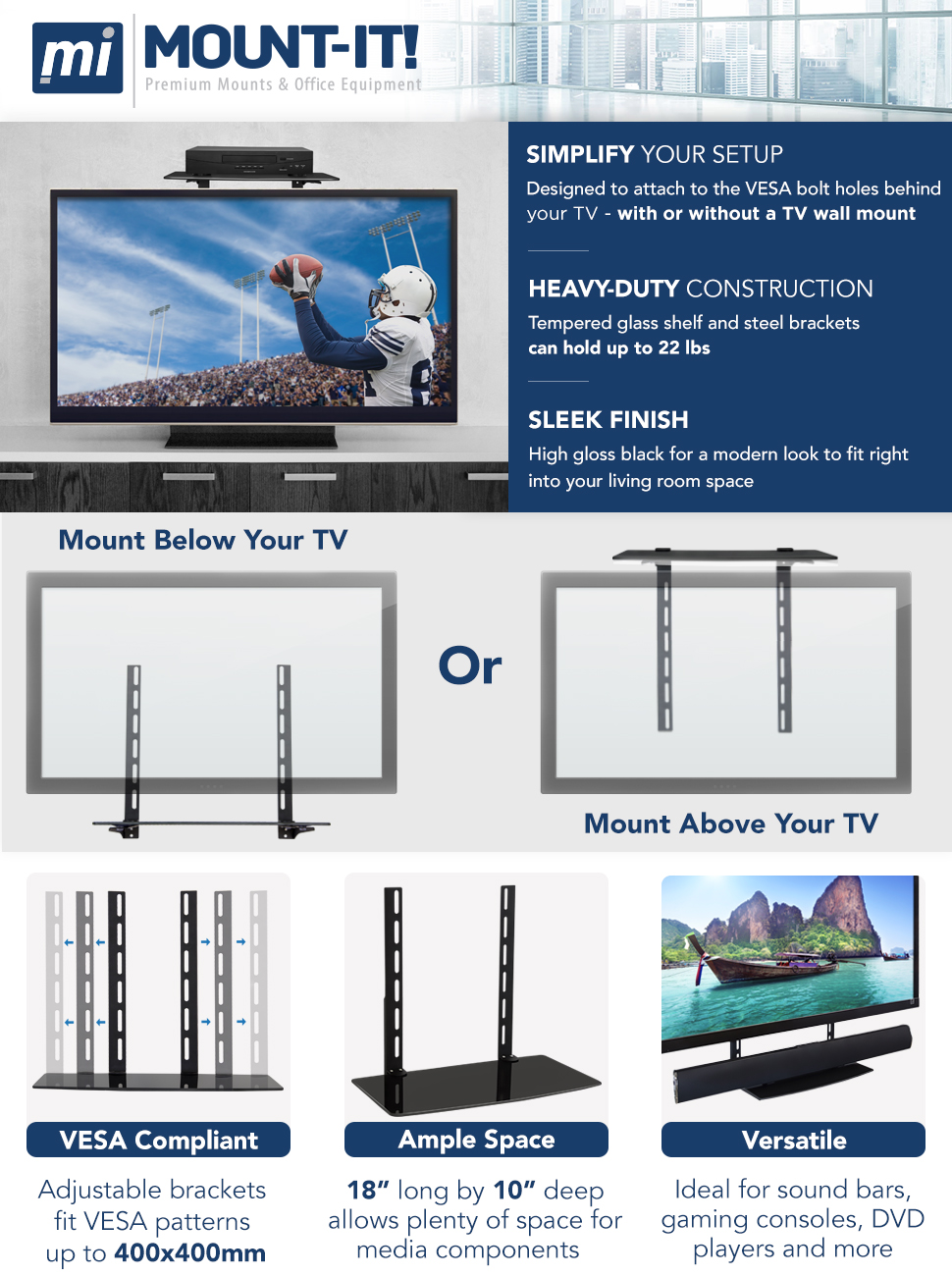 Amazon.com: Mount-It TV Wall Mount Shelf Bracket Under TV for Cable ...