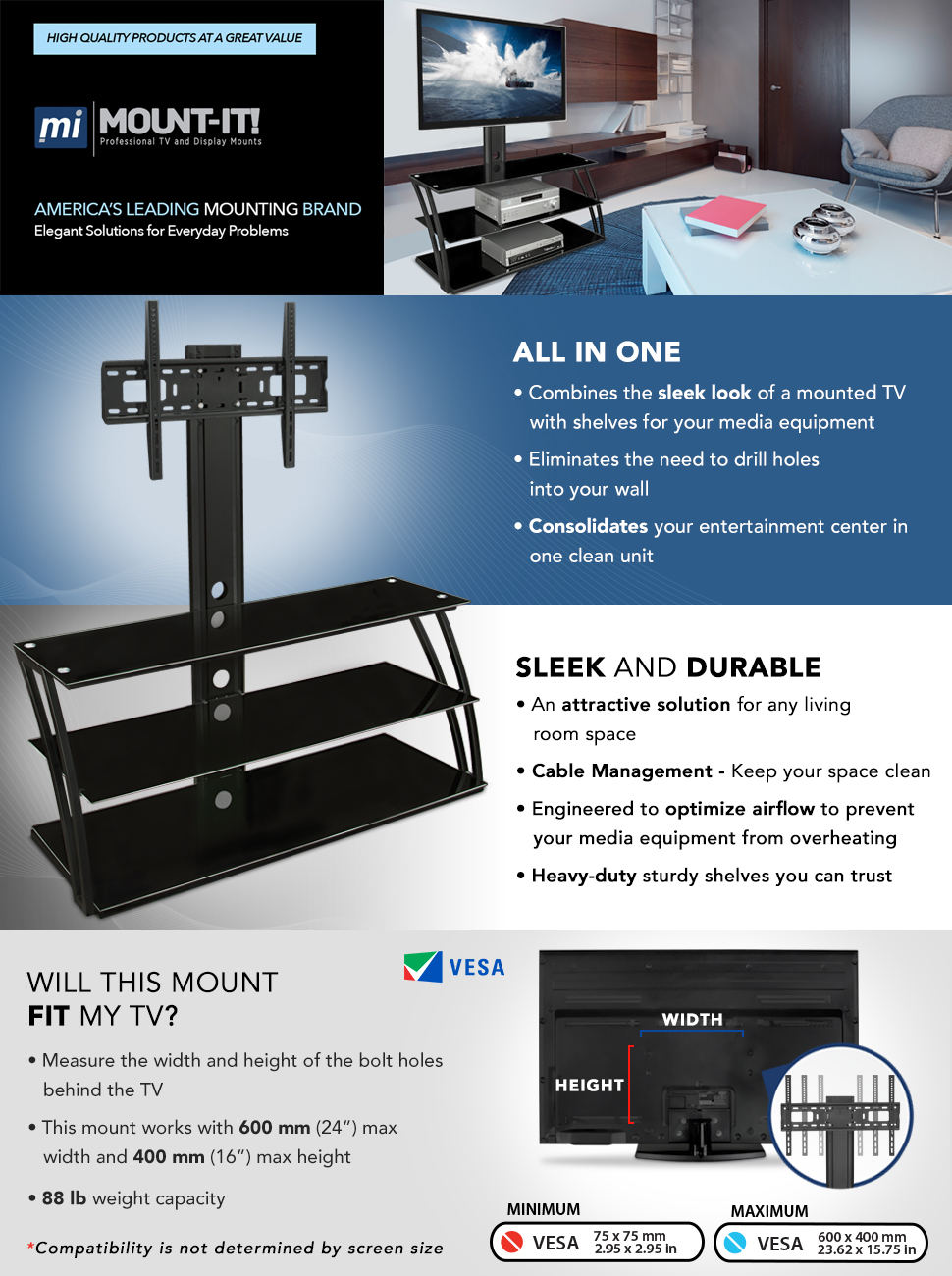 Amazon.com: Mount-It! TV Stand with Mount and Storage Shelves ...