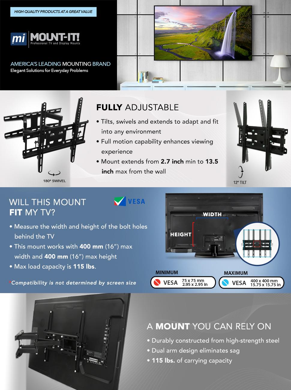 Amazon.com: Mount-It! Articulating TV Wall Mount Corner Bracket ...