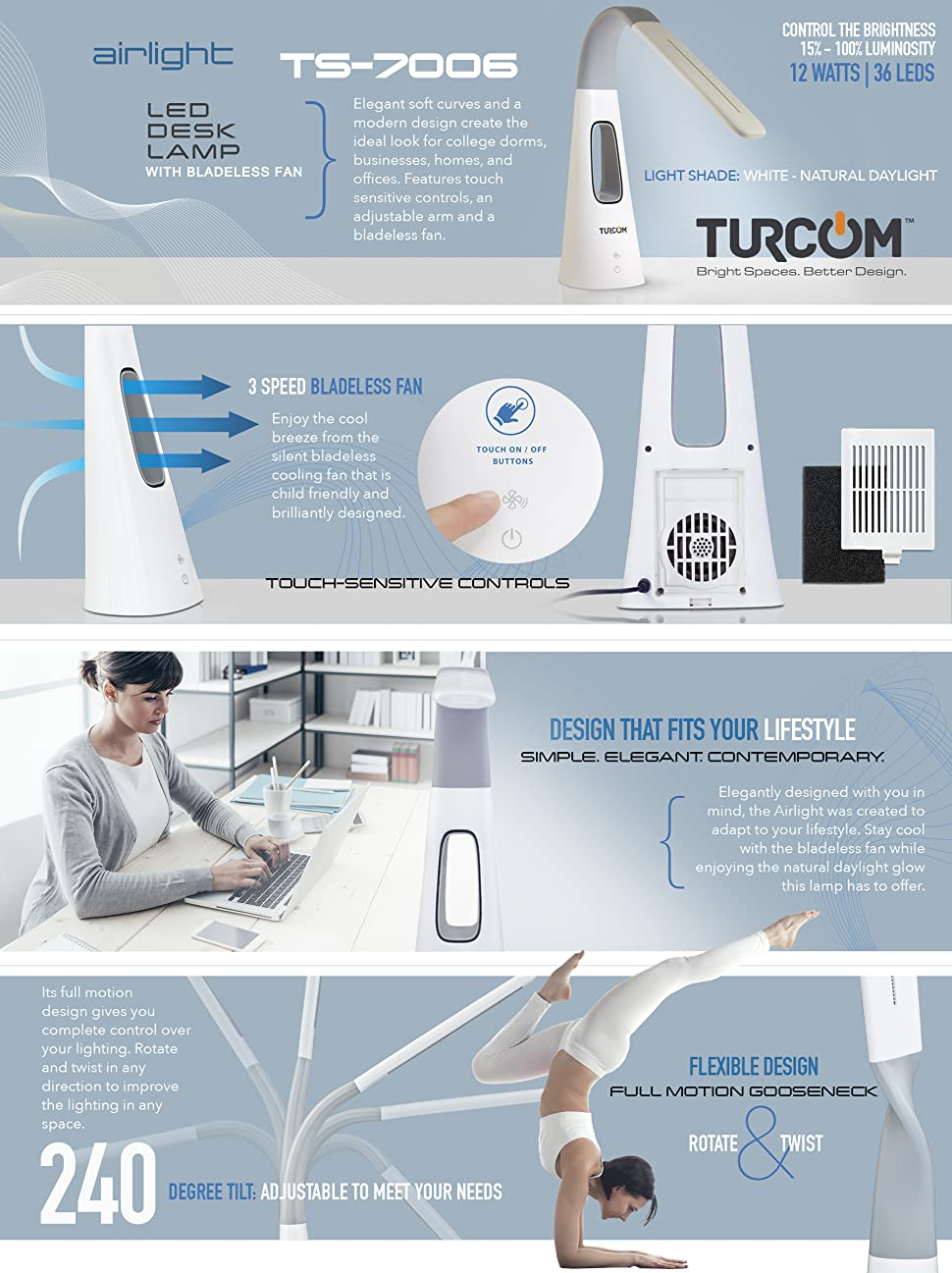 turcom airlight led desk lamp with bladeless cooling fan dimmable light dimmer function for reading three fan speeds