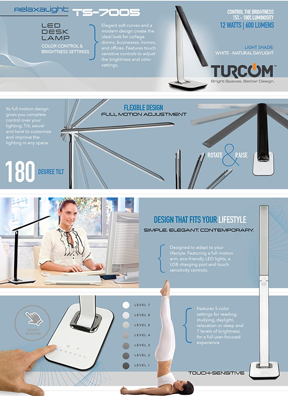 Turcom RelaxaLight LED Desk Lamp, Table Lamp, Dimmable, USB Ports For  Chargers, Touch Sensors, Eye Protective, Natural White Light To Classic  Orange For ...