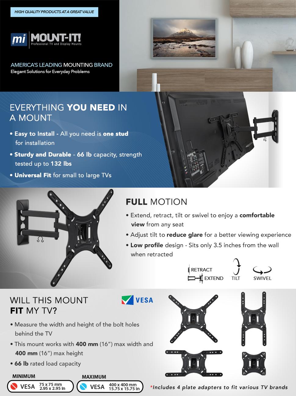 "10/""-27/"" Tilt Wall Mount for 40 lbs LCD /&LED TV /& Monitor"