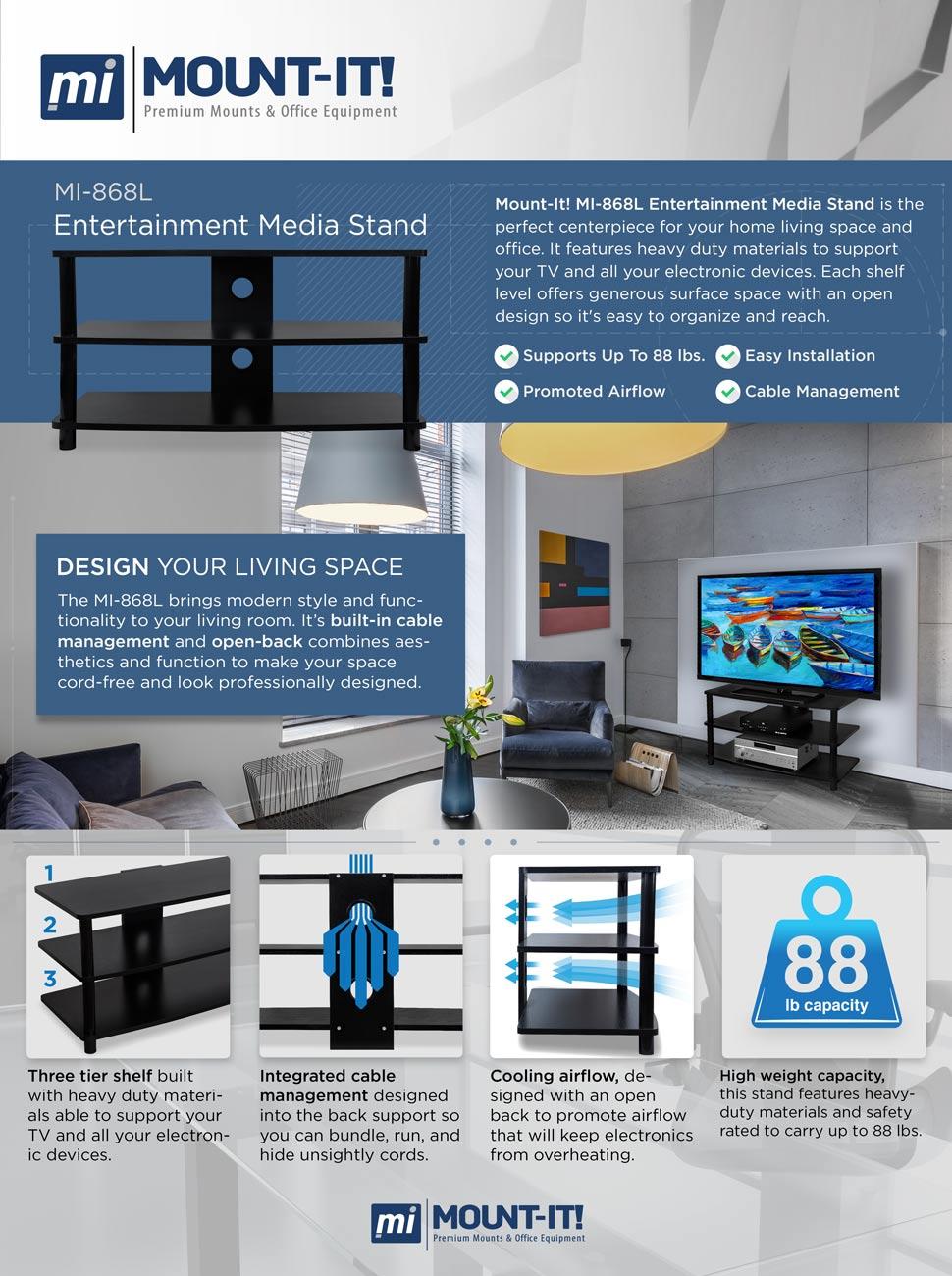 Amazon Com Mount It Tv Entertainment Media Stand Wood  # Designe De Support De Television