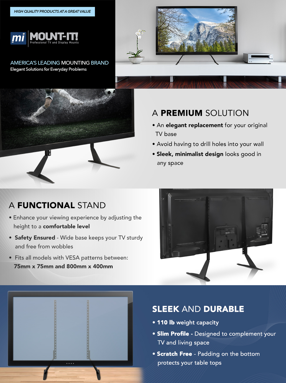 Mount It Universal Tv Stand Base Replacement Table Top Home Built Plasma Cutter Wiring Schematics Tabletop Vesa Pedestal