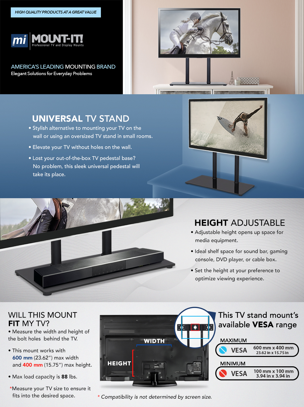 Amazon.com: Mount-It! Universal Tabletop TV Stand Base, Height ...