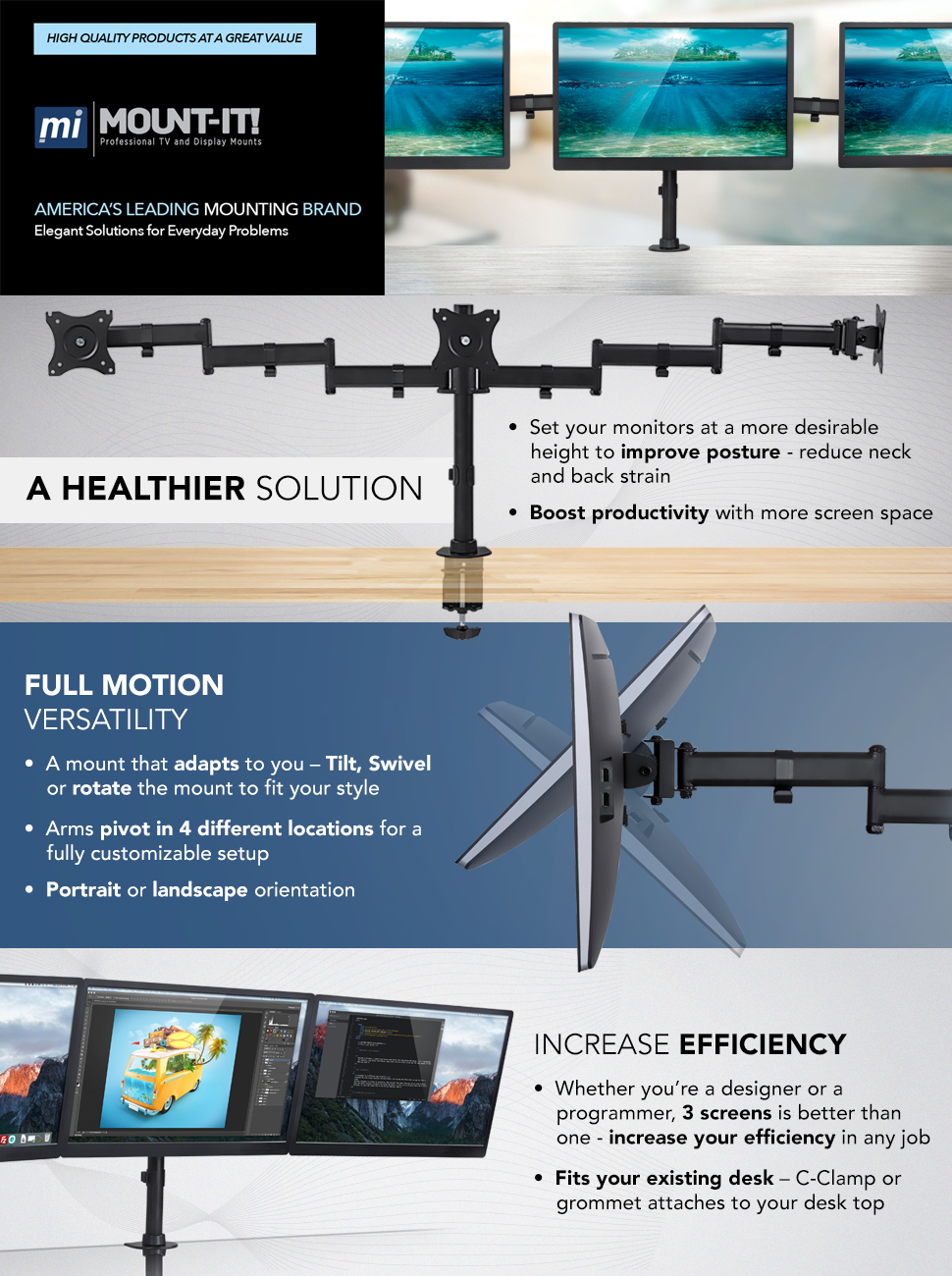 mountit triple monitor mount 3 screen desk stand for lcd computer monitors for 19 20 22 23 24 27 inch monitors vesa 75 and 100 compatible full motion