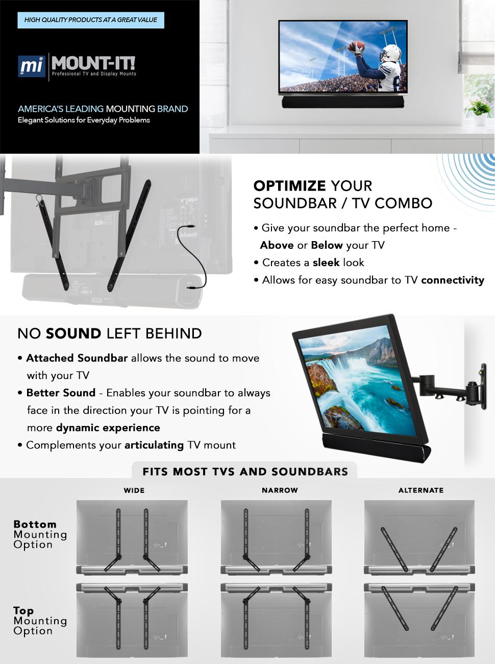 Amazon Com Mount It Soundbar Bracket Universal Sound Bar