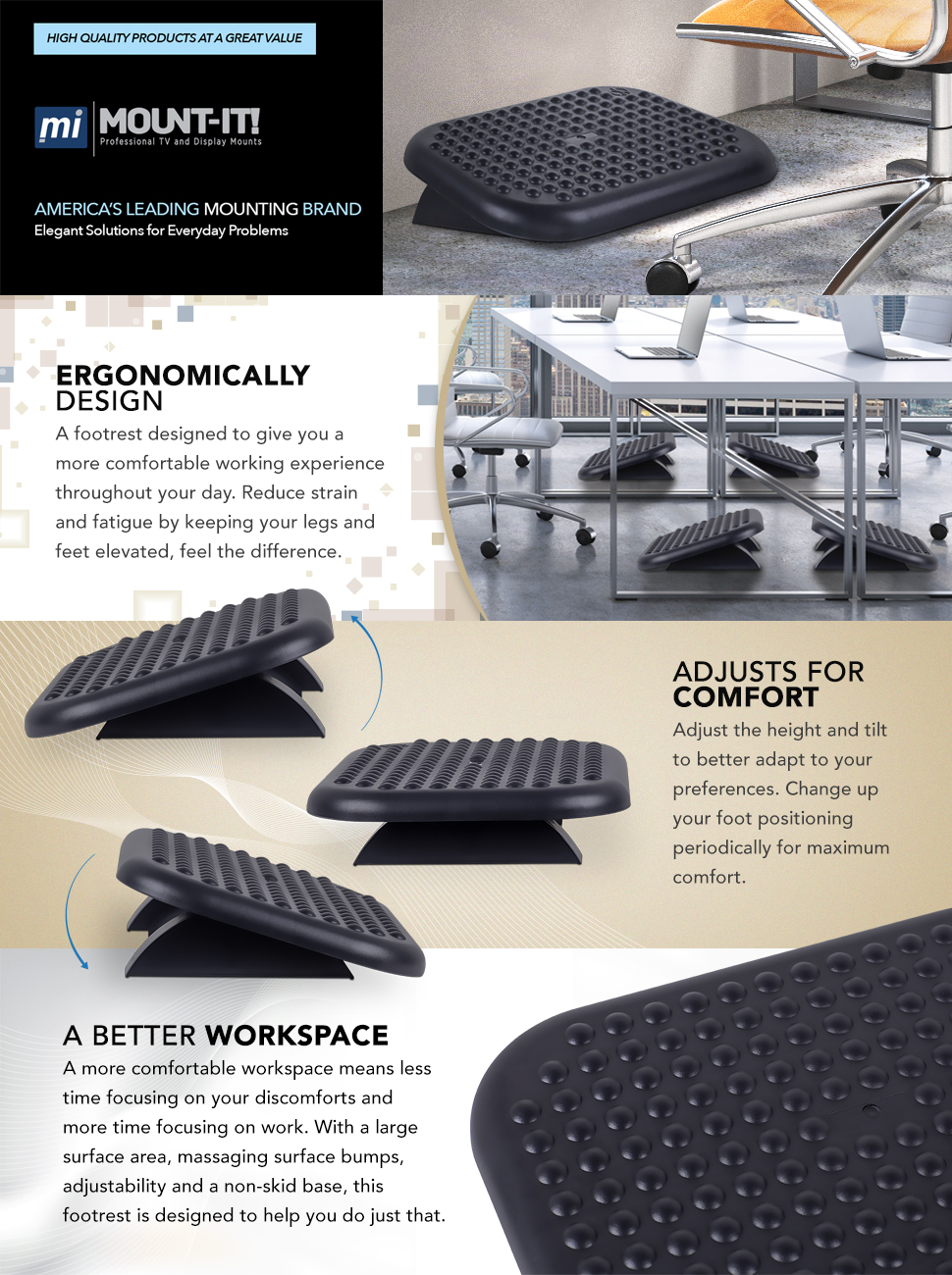 mountit foot rest under desk ergonomic footrest reduces muscle strain and fatigue adjustable angle office foot rest stool 176 x 132 in black