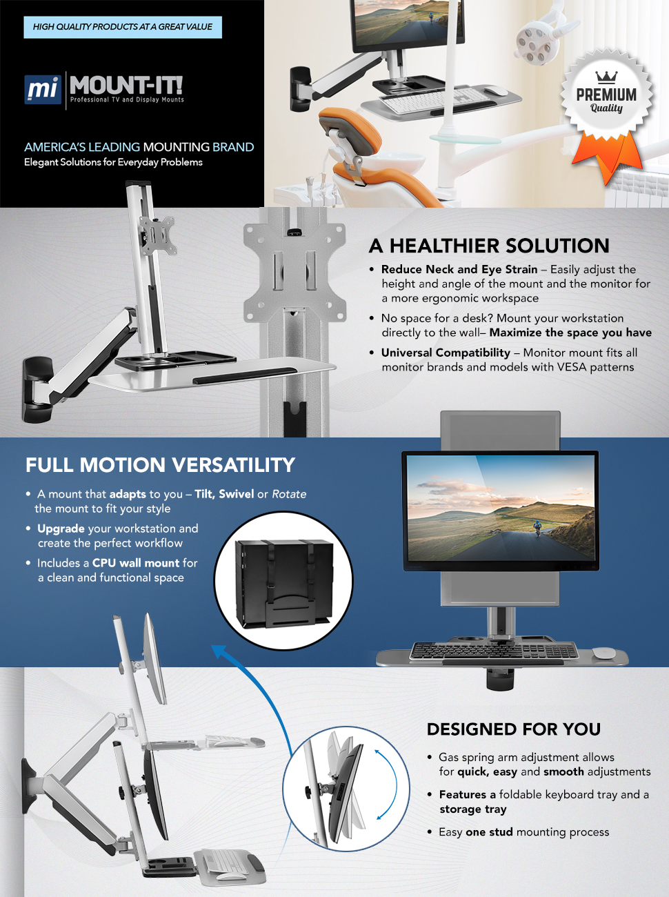 Amazon Com Mount It Sit Stand Wall Mount Workstation