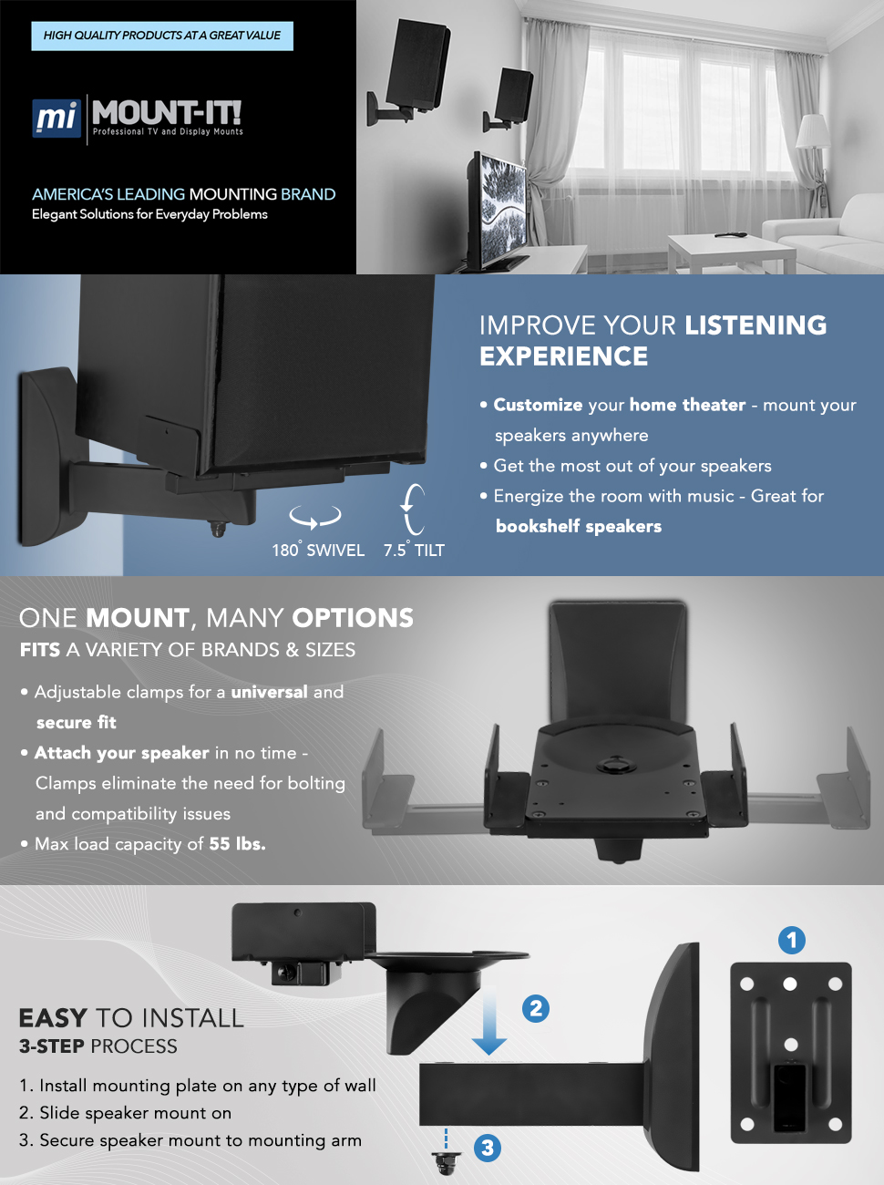 Mount It Speaker Wall Brackets With Side Clamping For Satellite And Bookshelf Speakers