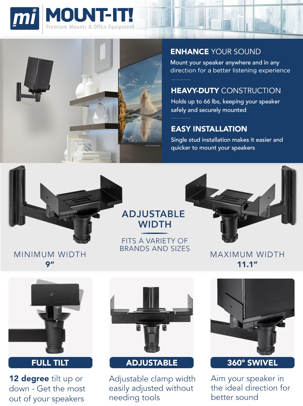 Mount It Speaker Wall Universal Side Clamping Bookshelf Mounting Bracket Large Or Small Speakers 1 66 Lbs Capacity Black