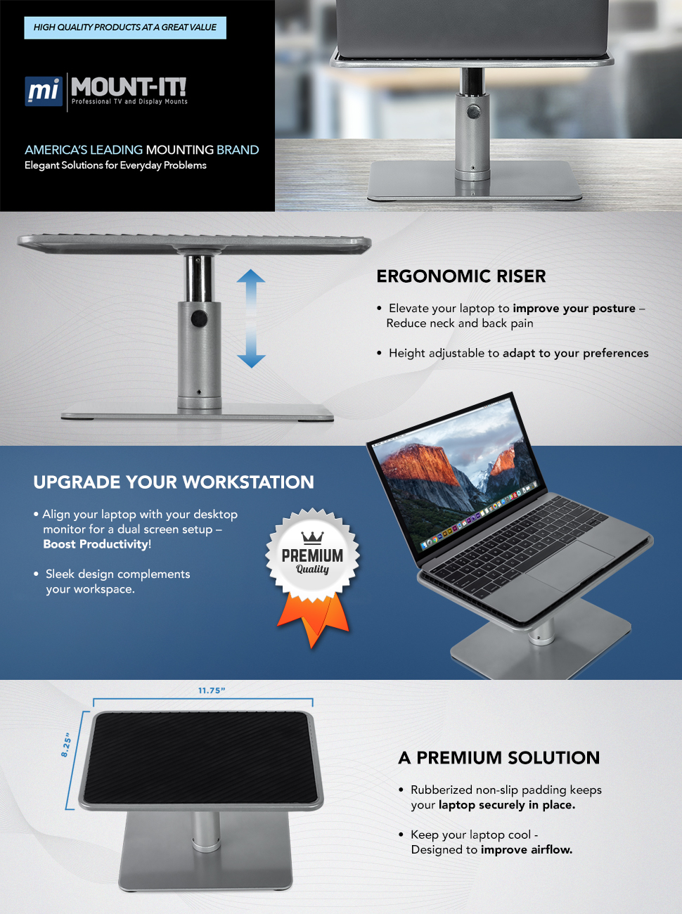mountit laptop stand for macbook and pc monitor desk riser fits up to 11 to 15 inch computers