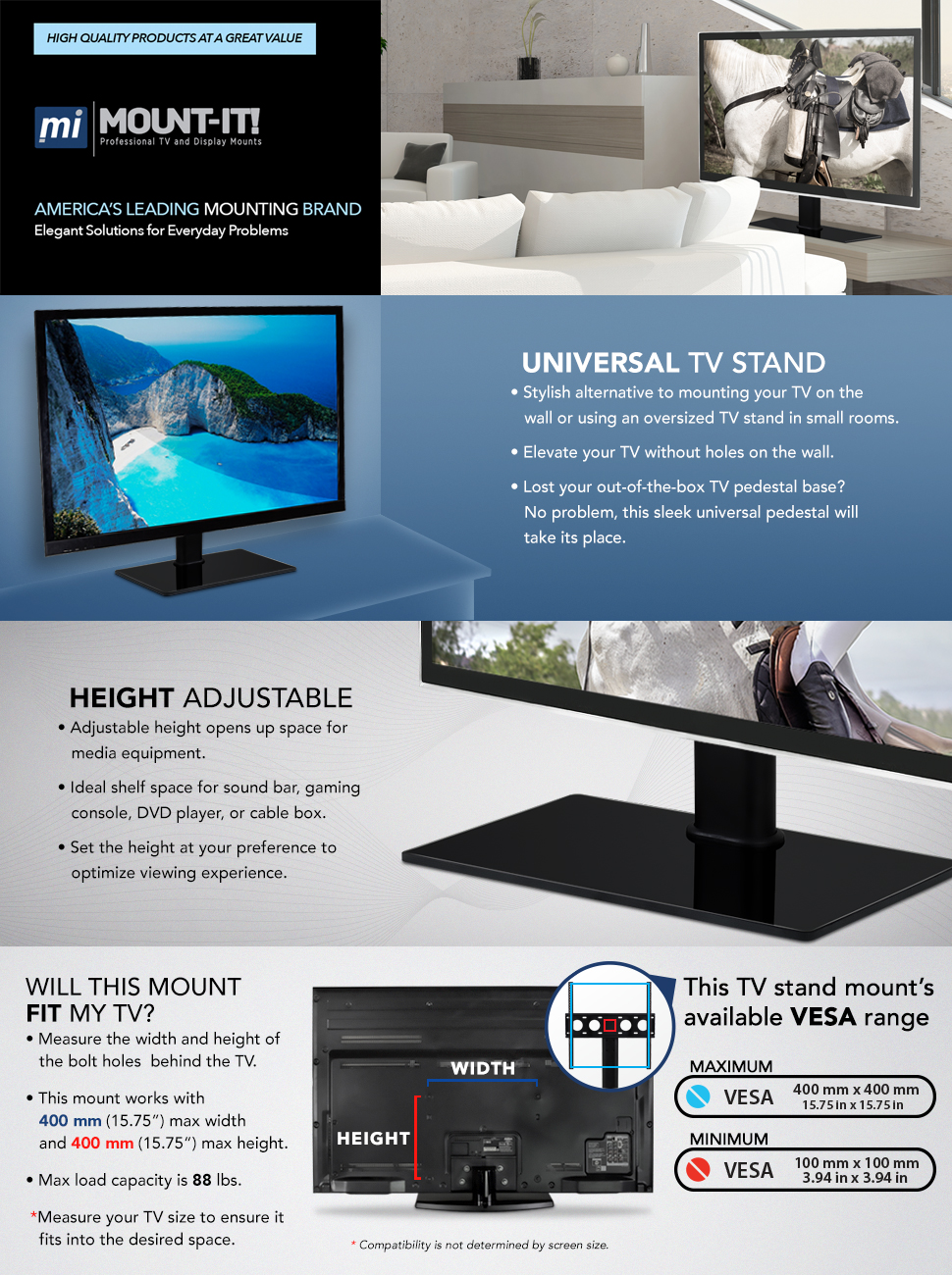 Amazon.com: Universal Tabletop TV Stand Base - TV Mount Bracket with ...