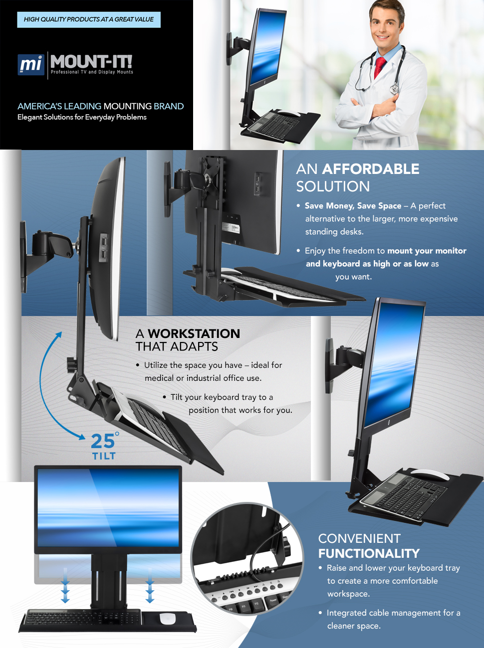 Amazon Com Mount It Monitor And Keyboard Wall Mount