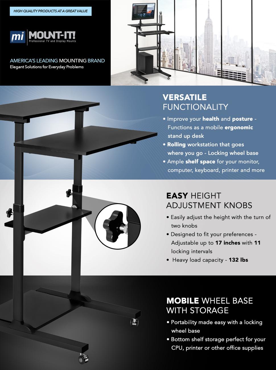 mountit stand up mobile workstation - Stand Up Workstation