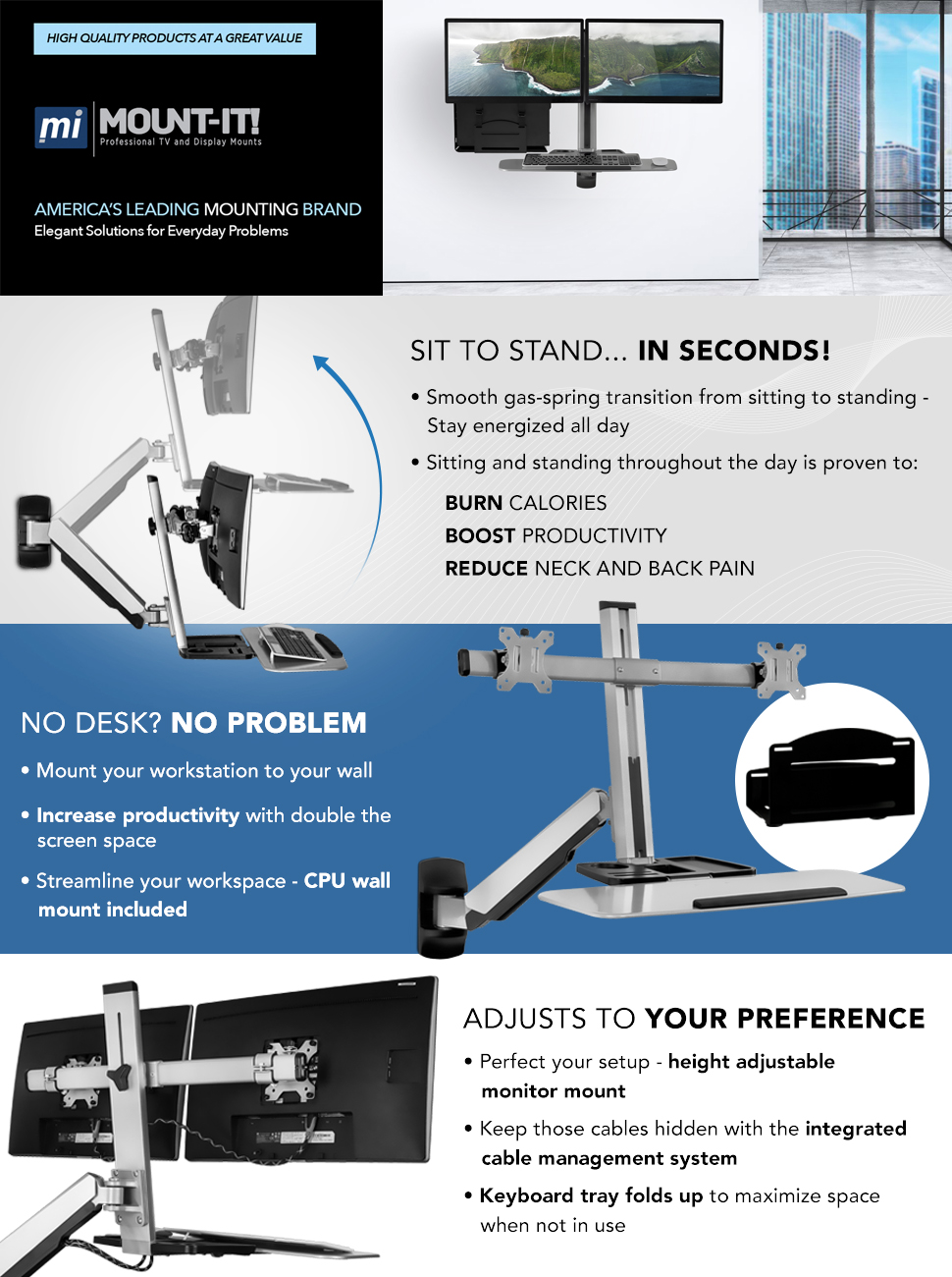 Mount It! Sit Stand Wall Mount Workstation U0026 Stand Up Computer Station With  Dual Monitor Mount Articulating Keyboard Tray Arm And CPU Holder