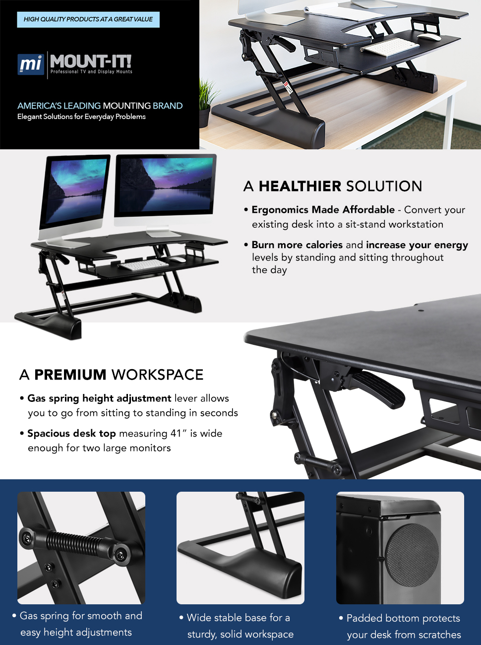High Rise Dual Monitor Sitstand Desk Converter Sit To