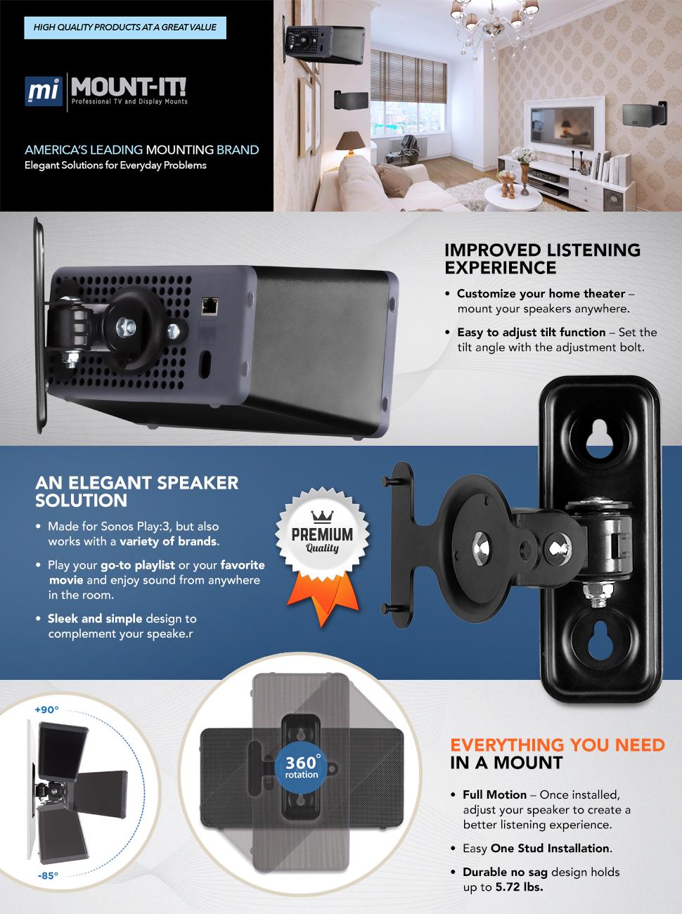 Amazon.com: Mount-It! SONOS Speaker Wall Mount Bracket for SONOS ...