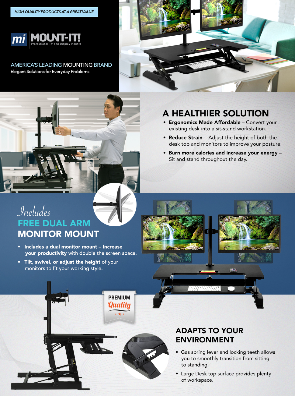 mountit sit stand workstation standing desk converter with dual monitor mount combo - Standing Desk Converter